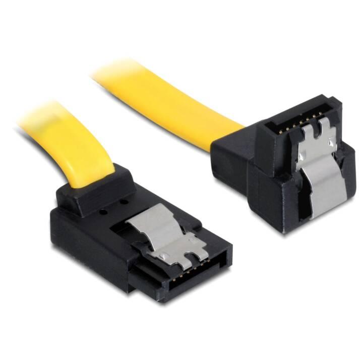 DELOCK SATA3-Kabel gelb, doppelt gewinkelt, 50 cm