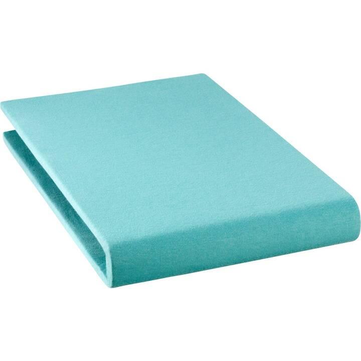 LIVIQUE Drap-housse Andrea (120 cm x 200 cm, Turquoise)