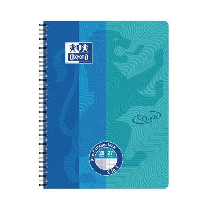 OXFORD Notebook Touch Collegeblock Duo, A4, quadrato, blu mare