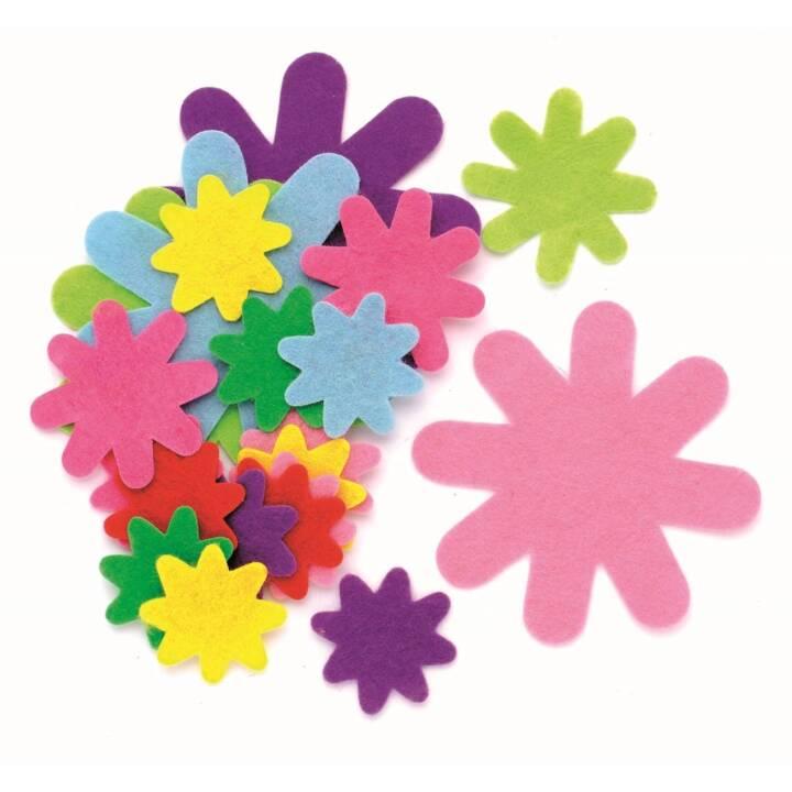 Glorex Filz Blumen 50 Stück, 3 - 5 cm
