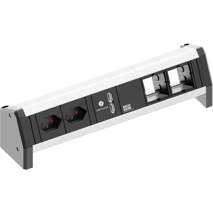 BACHMANN Steckdosenleiste (T13, USB / GST 18/3, 200 mm, Schwarz)
