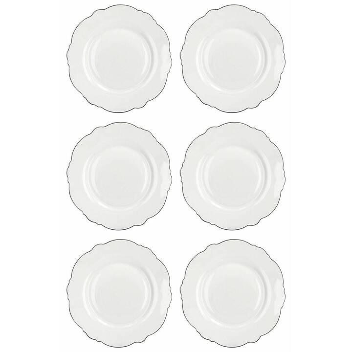 TOGNANA Frühstücks- & Dessertteller Ginerva Decor Platino (22 cm, 6 Stück)