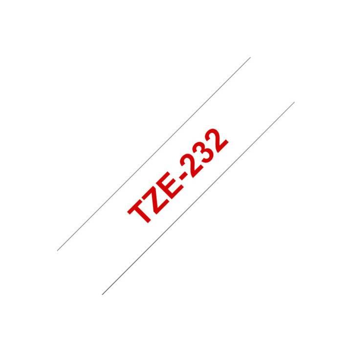 BROTHER TZe232 Ruban d'écriture (1.2 cm x 800 cm, Rouge / Blanc)