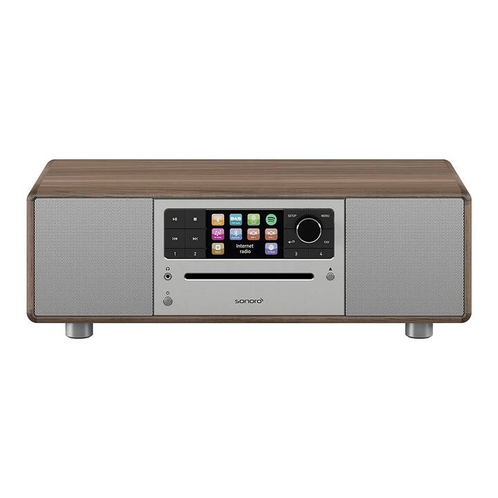 SONORO AUDIO Prestige (Walnuss, WLAN, Bluetooth, CD, Externes Wiedergabegerät, USB-Stick, Bluetooth, Radio)