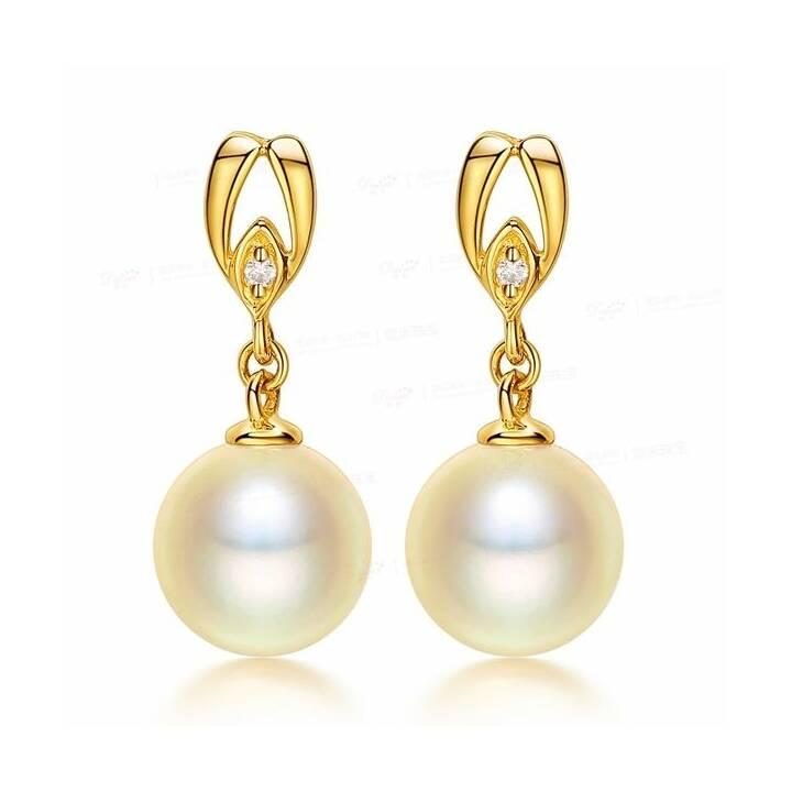 MUAU Pendants d'oreille (Perle, Diamant, 8.5 mm)
