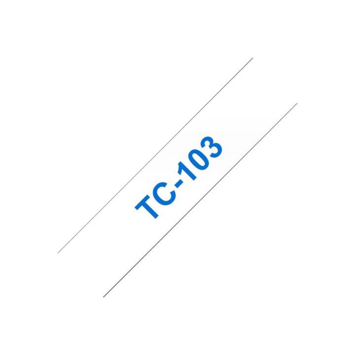 BROTHER TC103 Schriftband (12 mm x 7.7 m, Blau / Transparent)