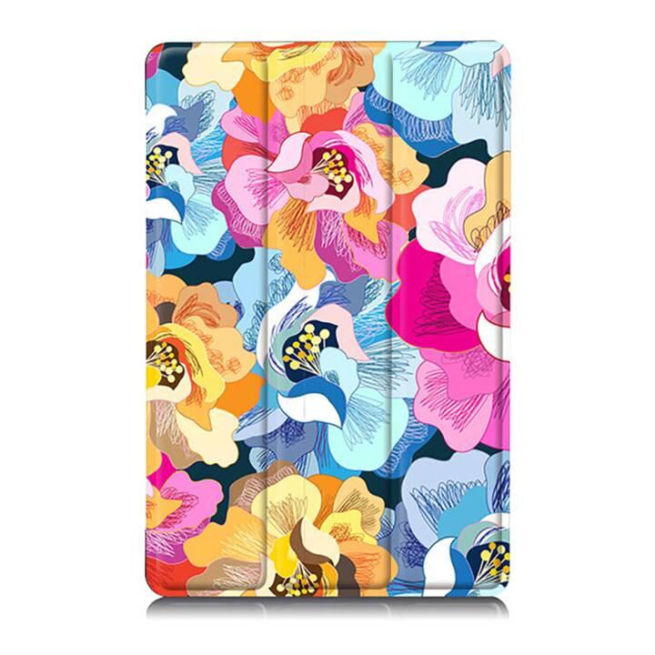 """EG MTT Sacoche à comprimés avec couvercle rabattable pour Samsung Galaxy Tab A A6 7 """"- Tablette de fleurs roses"""