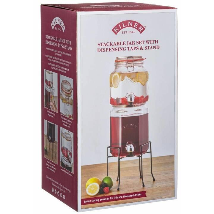 KILNER Getränkespender Stackable Jar Set Taps & Stand (2.1 l, 3.1 l)