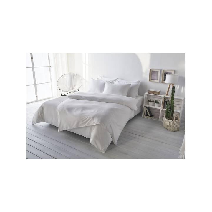 LIVING HOME Copripiumone Uni Satin (240 cm x 240 cm, Bianco)