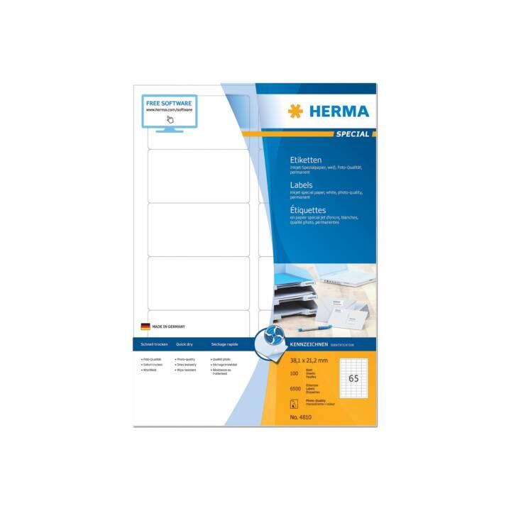 Etiquettes jet d'encre HERMA A4 38,1x21,2 mm 6500 pièces