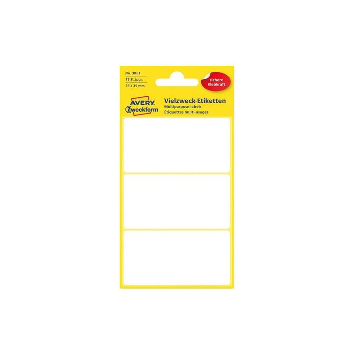 AVERY ZWECKFORM Ettiquettes (76 x 39 mm, 6 feuille)
