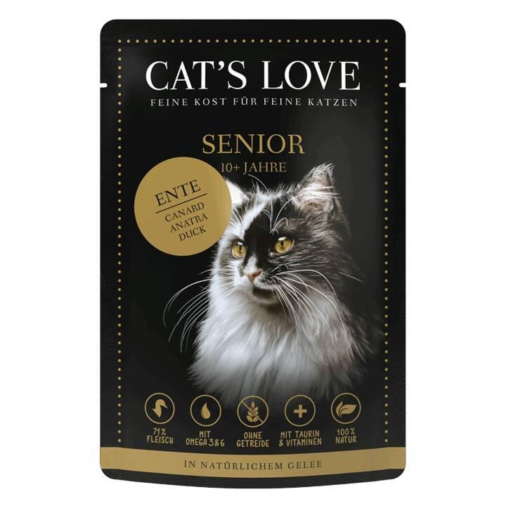 CAT'S LOVE Nassfutter (Senior, 85 g, Ente)