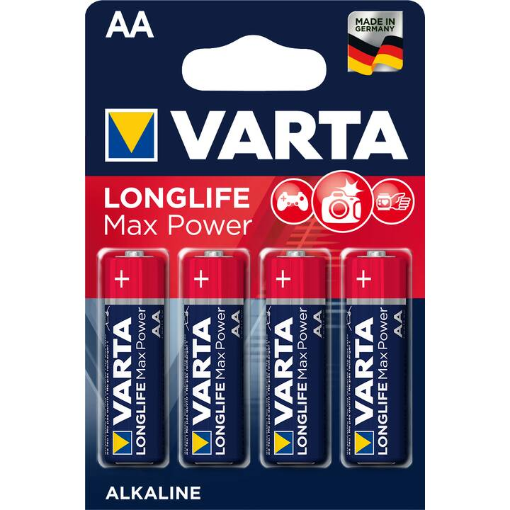 VARTA Longlife Max Power Batterie (AA / Mignon / LR6, Universell, 4 Stück)