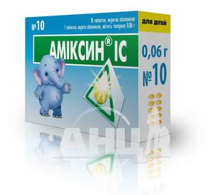 Аміксин ІС таблетки вкриті оболонкою 0,06 г блістер №10