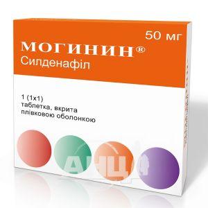 Могинин таблетки вкриті плівковою оболонкою 50 мг блістер №1