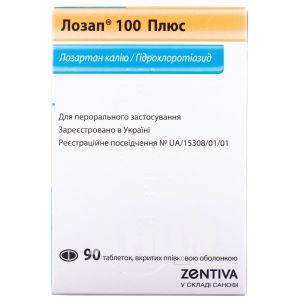 Лозап 100 Плюс таблетки вкриті плівковою оболонкою 100 мг + 25 мг блістер №90
