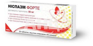 Ниспазм форте таблетки покрытые пленочной оболочкой 80 мг №20