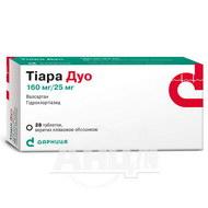 Тіара Дуо таблетки вкриті плівковою оболонкою 160 мг + 25 мг №28