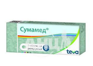 Сумамед таблетки диспергируемые 500 мг блистер №3