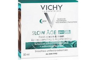 VICHY Слоу Эйдж, ночная освежающая крем-маска для коррекции признаков старения кожи на разных этапах формирования, 50мл