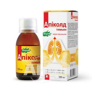 Апіколд тим'ян сироп від кашлю з медом, настоянками чебрецю і прополісу 100 мл