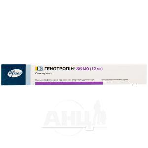 Генотропин порошок лиофилизированный для раствора для инъекций 36 ме/мл предварительно заполненная ручка с растворителем №1