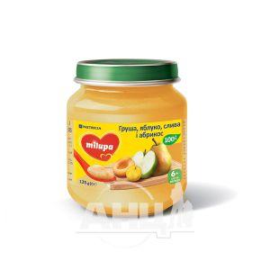 Пюре детское фруктовое груша-яблоко-слива-абрикос Milupa с 6 месяцев 125 г