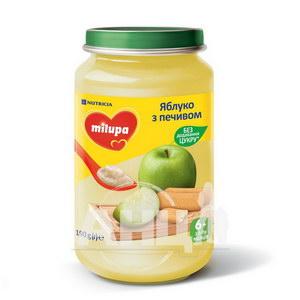 Пюре дитяче фруктове яблуко з печивом Milupa з 6 місяців 190 г