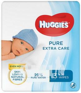 Серветки вологі дитячі Huggies Pure Extra №168 (56*3)