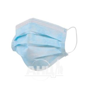Маска медична тришарова на резинках №1