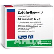 Еуфілін-Дарниця розчин для ін'єкцій 2,4 % ампула 5 мл №10