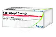 Коринфар уно 40 таблетки пролонгованої дії вкриті оболонкою 40 мг блістер №100