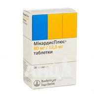 Мікардисплюс таблетки 80 мг + 12,5 мг №28