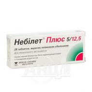 Небилет плюс таблетки покрытые пленочной оболочкой 5 мг + 12,5 мг №28