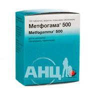 Метфогама 500 таблетки вкриті плівковою оболонкою 500 мг №120