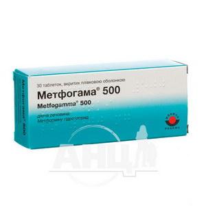 Метфогамма 500 таблетки покрытые пленочной оболочкой 500 мг №30