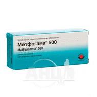 Метфогама 500 таблетки вкриті плівковою оболонкою 500 мг №30