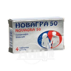 Новагра 50 таблетки вкриті плівковою оболонкою 50 мг №4