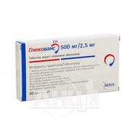 Глюкованс таблетки вкриті оболонкою 500 мг + 2,5 мг №30