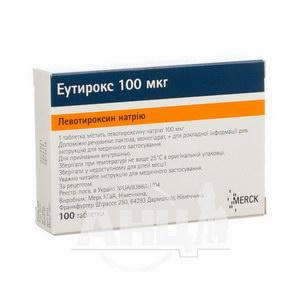 Еутирокс таблетки 100 мкг блістер №100