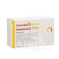Глюкофаж таблетки вкриті плівковою оболонкою 500 мг №60