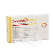 Глюкофаж таблетки вкриті плівковою оболонкою 500 мг №30
