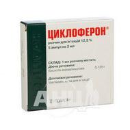Циклоферон раствор для инъекций 12,5 % ампула 2 мл №5