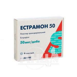 Естрамон 50 пластир трансдермальний 50 мкг/доба пакетик № 6