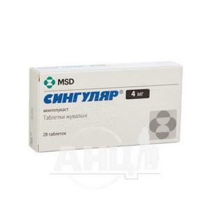 Сингуляр таблетки жувальні 4 мг №28