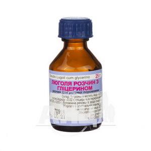 Люголя розчин з гліцерином для ротової порожнини флакон 25 г