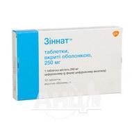 Зіннат таблетки вкриті оболонкою 250 мг блістер №10