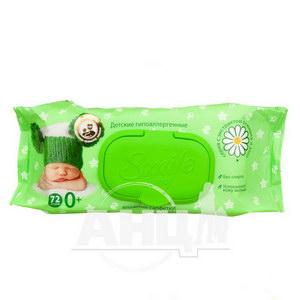 Серветки вологі Smile baby для дітей алое ромашка з клапаном №72