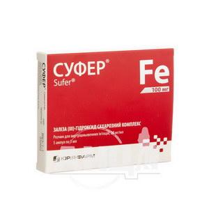 Суфер розчин для внутрішньовенних ін'єкцій 20 мг/мл ампула 5 мл №5