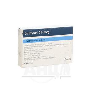 Еутирокс таблетки 25 мкг блістер №100